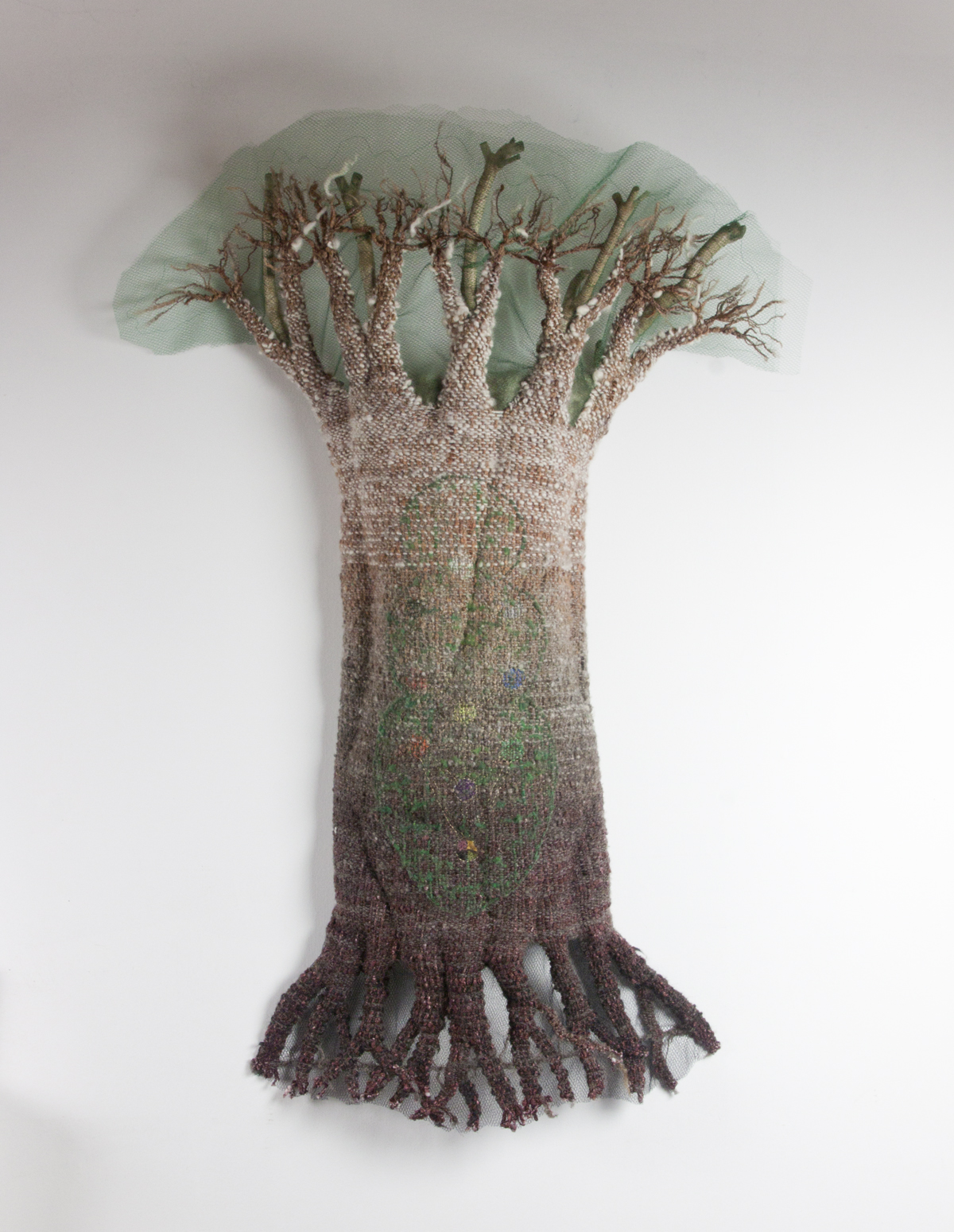 Mother Tree - Asherah, Handwoven fabric with embellishment on wire frame.